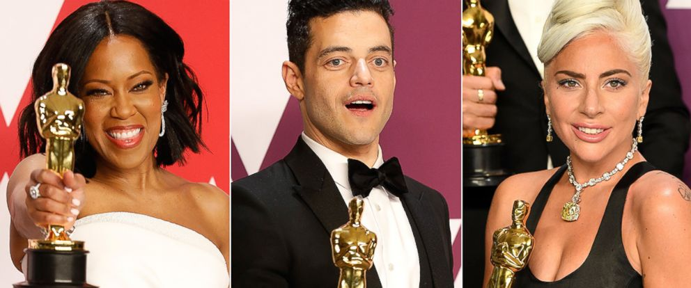 PHOTO: Regina King, Rami Malek and Lady Gaga hold at the 91st Annual Academy Awards in Hollywood, Calif., Feb. 24, 2019.