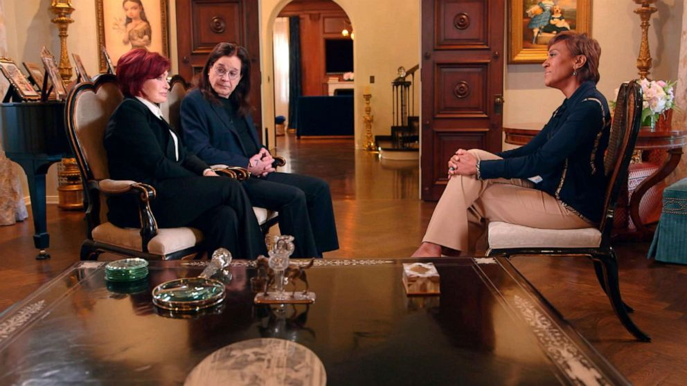 PHOTO: Sharon and Ozzy Osbourne speak with ABC News' Robin Roberts.