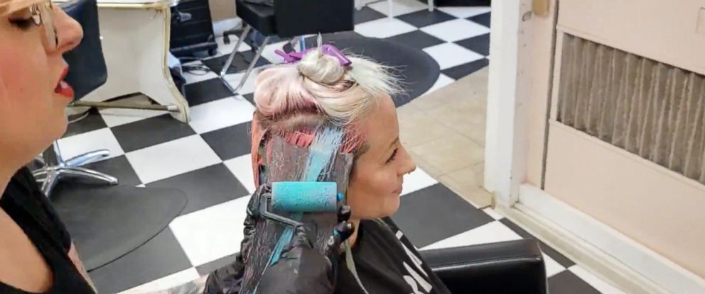 PHOTO: Creative Color Specialist Kelly OLeary came up with the idea to use a paint roller to dye a clients hair.
