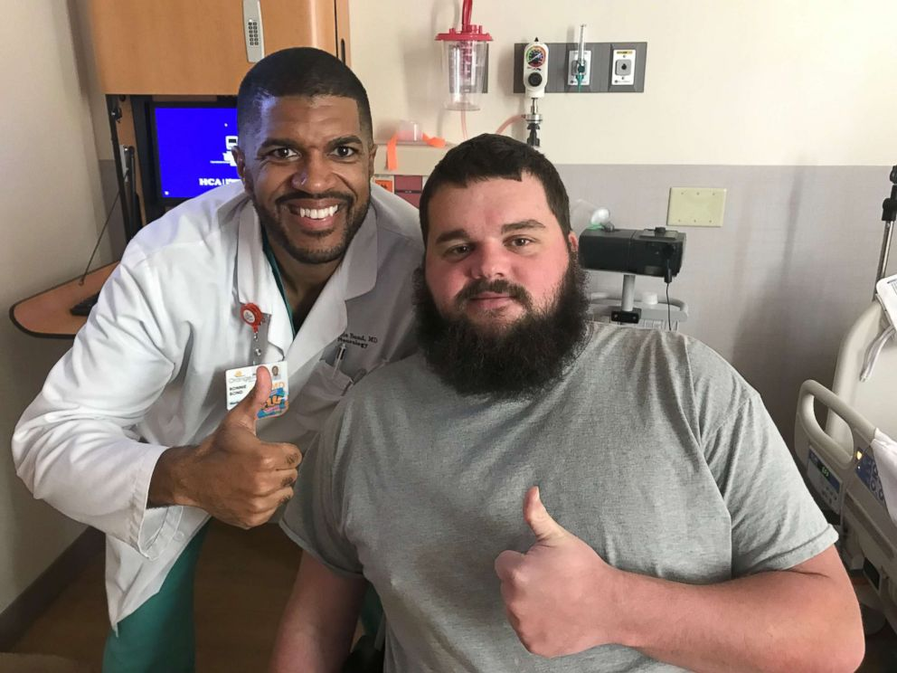 PHOTO: Jacob Newbern, 27, a patient at HCA Healthcares Orange Park Medical Center, poses in an undated photo with neurologist Dr. Ronnie Bond.