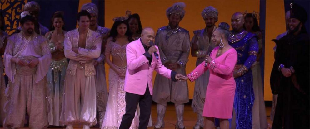 PHOTO: Peabo Bryson and Regina Belle reunited to sing their hit single A Whole New World at the Broadway production of Aladdin.