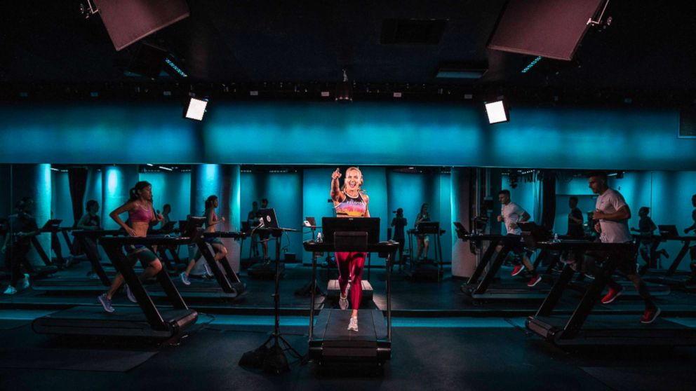 Rebecca Kennedy, master tread instructor at Peloton, teaches a treadmill class at Peloton's New York City studio.