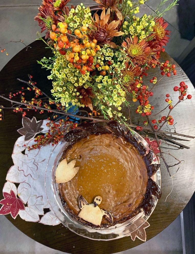 PHOTO: Homemade pumpkin pie with a decorative fall leaf crust and a festive turkey.