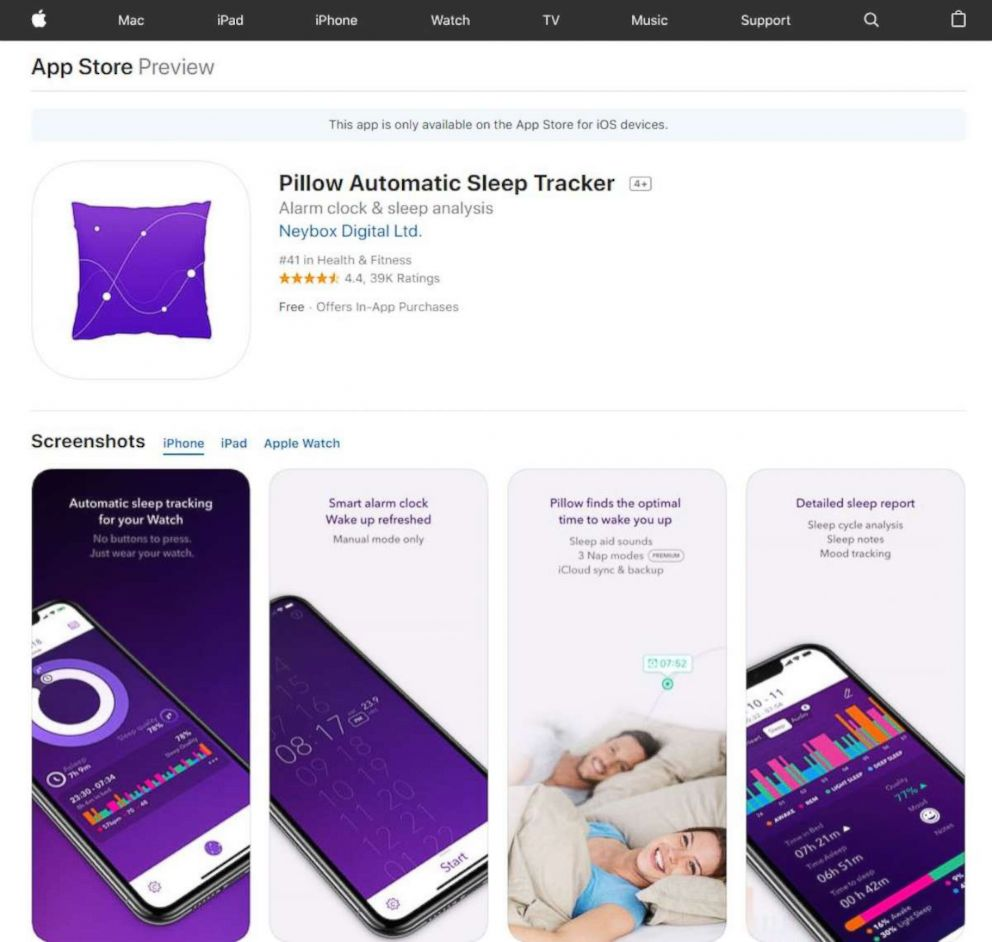 PHOTO: Pillow Automatic Sleep Tracker available on the Apple App store.
