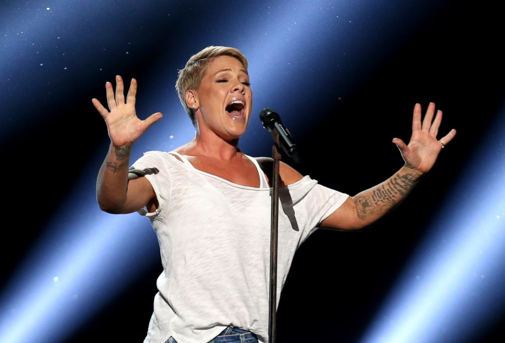 PHOTO: Pink performs Wild Hearts Cant Be Broken at the 60th annual Grammy Awards at Madison Square Garden in New York, Jan. 28, 2018.