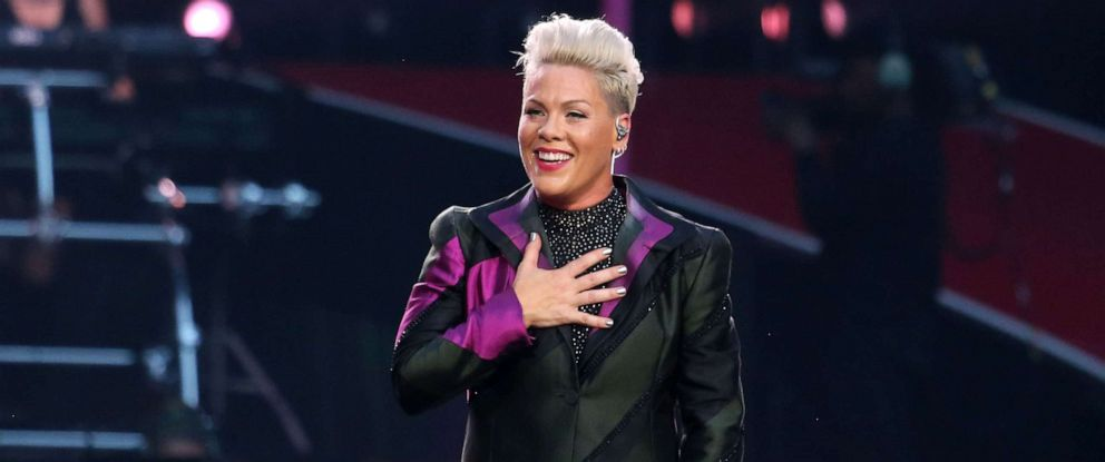 PHOTO: Pink performs on stage at Wembley Stadium, June 29, 2019, in London.
