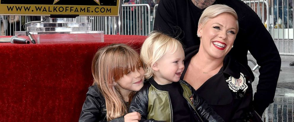 PHOTO: Pink, Carey Hart, Willow Sage Hart and Jameson Moon Hart attend the ceremony honoring Pink with Star on the Hollywood Walk of Fame on Feb. 5, 2019 in Hollywood, Calif.