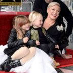 Pink, Carey Hart, Willow Sage Hart and Jameson Moon Hart attend the ceremony honoring Pink with Star on the Hollywood Walk of Fame on Feb. 05, 2019 in Hollywood, Calif.