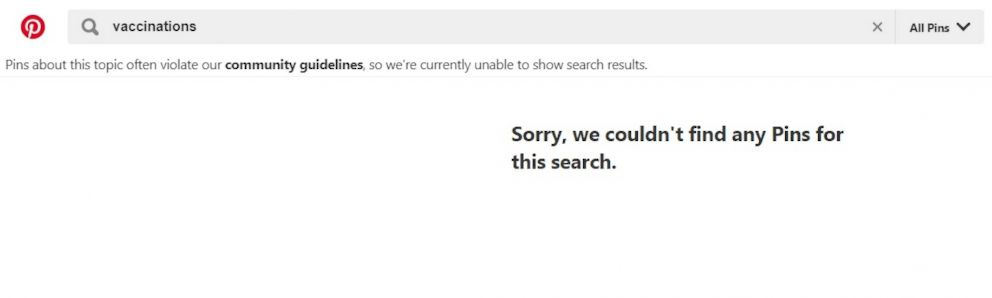 PHOTO: A search for the term vaccinations returns a message from Pinterest.com stating that the site is currently unable to show search results, in a screen grab made on Feb. 21, 2019.