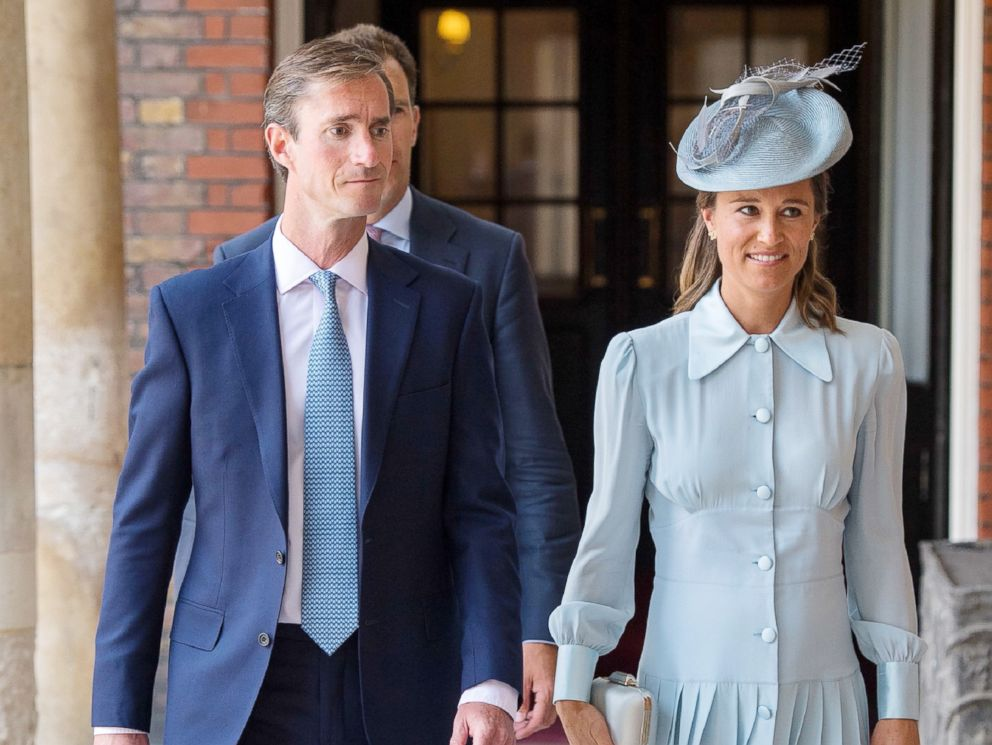 PHOTO: Pippa Middleton arrives with her husband James Matthews for the christening of Britains Prince Louis of Cambridge at the Chapel Royal, St Jamess Palace, London on July 9, 2018.