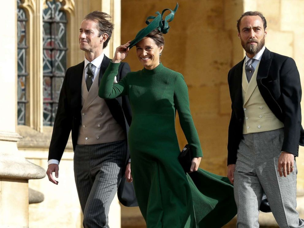 PHOTO: Philippa Middleton Matthews, center, James Middleton, right, and Pippas husband James Matthews, left, arrive to attend the wedding of Britains Princess Eugenie at St Georges Chapel, Windsor Castle, in Windsor, England, Oct. 12, 2018.