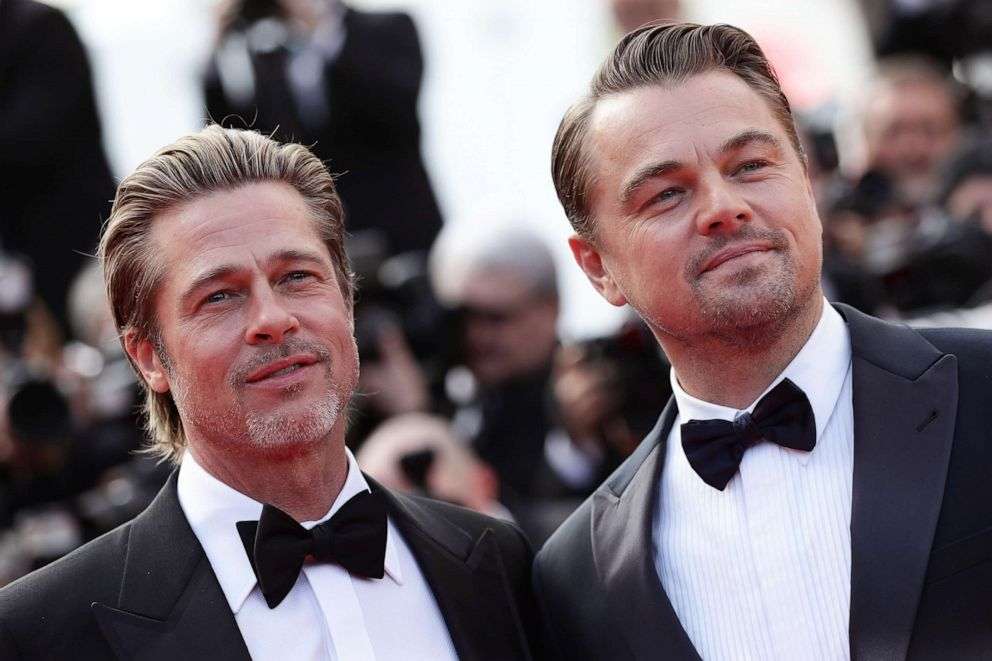 PHOTO: Brad Pitt and Leonardo DiCaprio attends the screening of Once Upon A Time In Hollywood during the 72nd annual Cannes Film Festival, May 21, 2019, in Cannes, France.