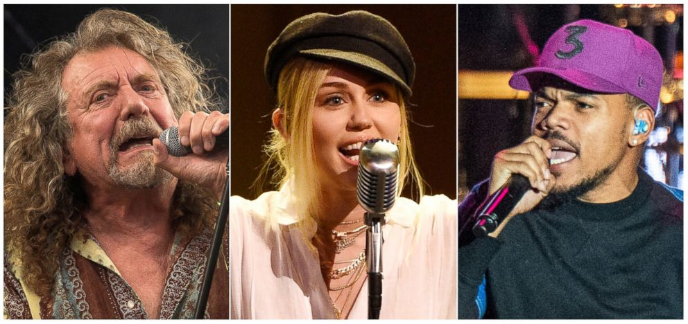 This combination photo shows, from left, Robert Plant, Miley Cyrus and and Chance the Rapper, who will perform one of the 50th anniversary shows commemorating the Woodstock festival which will take place Aug. 16-18 in Watkins Glen, N.Y.