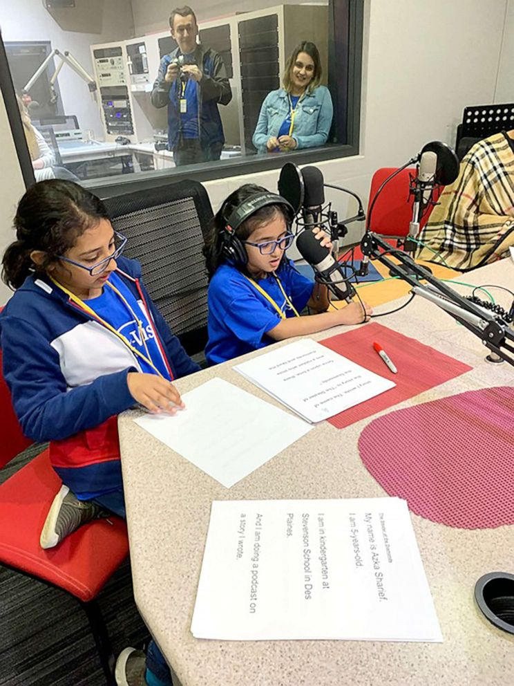 PHOTO: With help from her sister Afifa Sharief, 11, Azkas dream came true and she worked on a podcast at local NPR station WBEZ-FM.