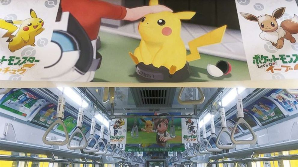 PHOTO: Banners hang from the ceiling promoting a new Pokemon video game.