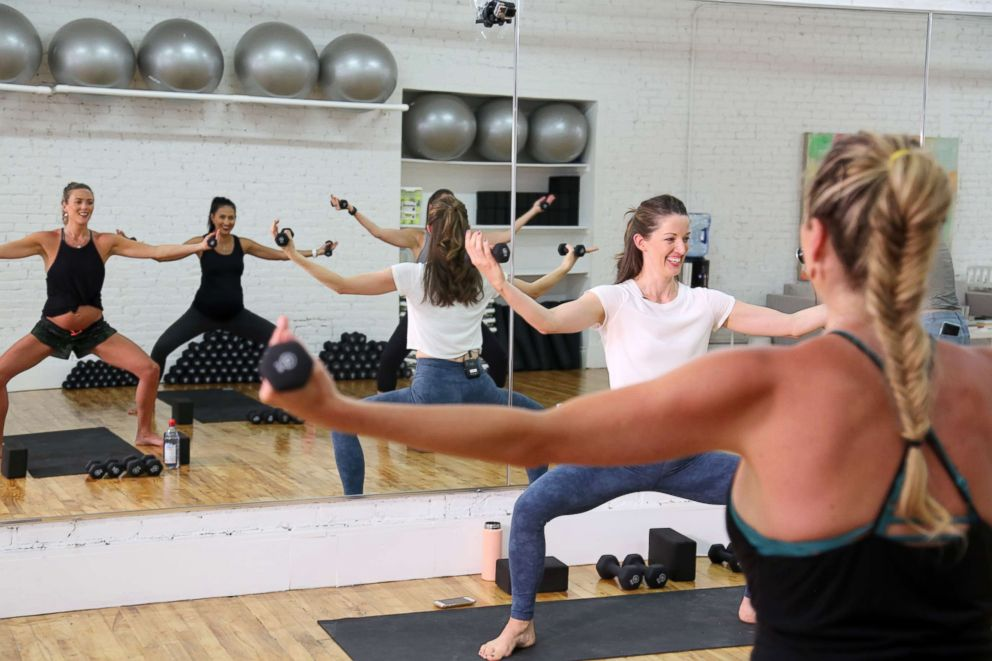 PHOTO: Fit Pregnancy Club founder Joanie Johnson teaches a class at the New York City studio.