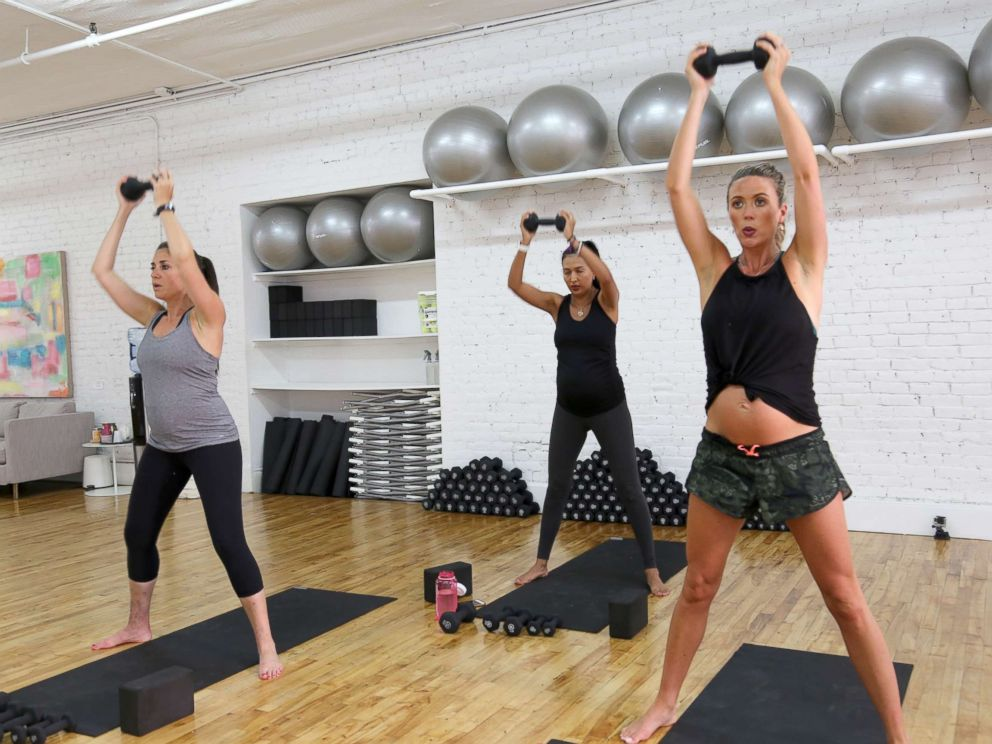 PHOTO: Pregnant women exercise during a class at Fit Pregnancy Club in New York City.