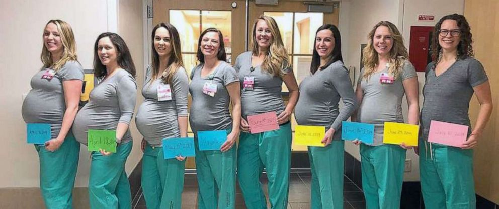 PHOTO: These 8 nurses from Labor and Delivery at Maine Medical Center are all pregnant and due between April and July 2019.