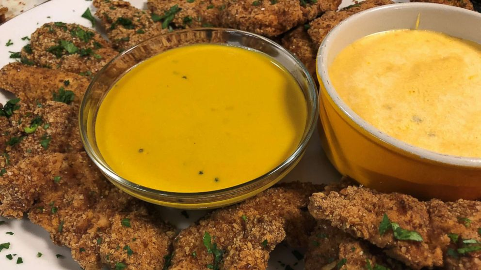 Jeff Mauro's boneless pretzel coated wings with beer cheese dipping sauce.