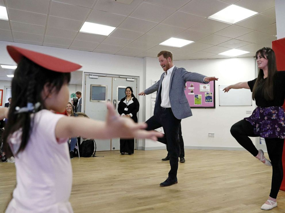 PHOTO: Britains Prince Harry, Duke of Sussex takes part in a ballet class for 4 to 6 year olds, while on a visit to YMCA South Ealing in west London on April 3, 2019.