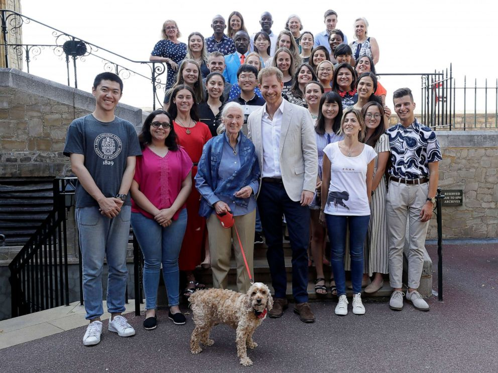 PHOTO: Prince Harry and Dr Jane Goodall pose for a photograph with Bella the Cockapoo and young people, as he attends Dr Jane Goodalls Roots & Shoots Global Leadership Meeting at St. Georges House, Windsor Castle in England, July 23, 2019.