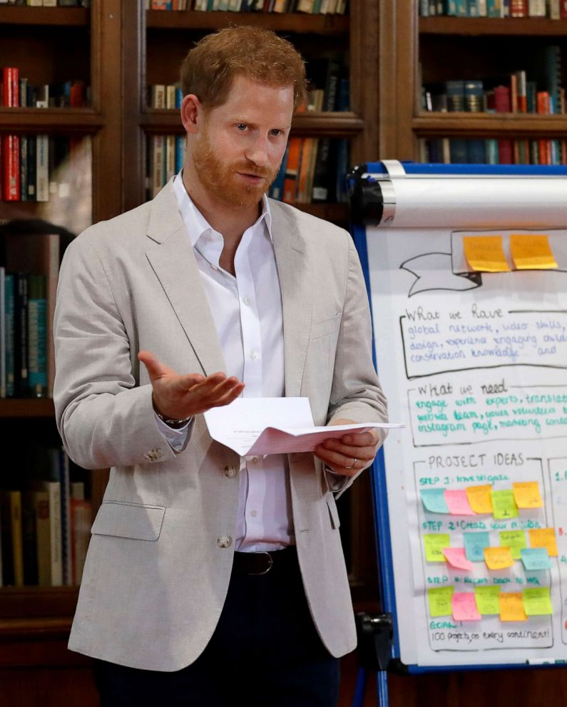 PHOTO: Prince Harry delivers a speech as he attends Dr Jane Goodalls Roots & Shoots Global Leadership Meeting at St. Georges House, Windsor Castle in England, July 23, 2019.