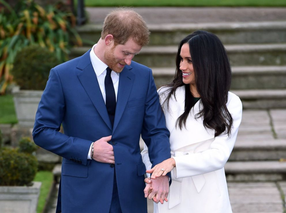 PHOTO: Britains Prince Harry and Meghan Markle pose for the media in the grounds of Kensington Palace in London, Nov. 27, 2017.