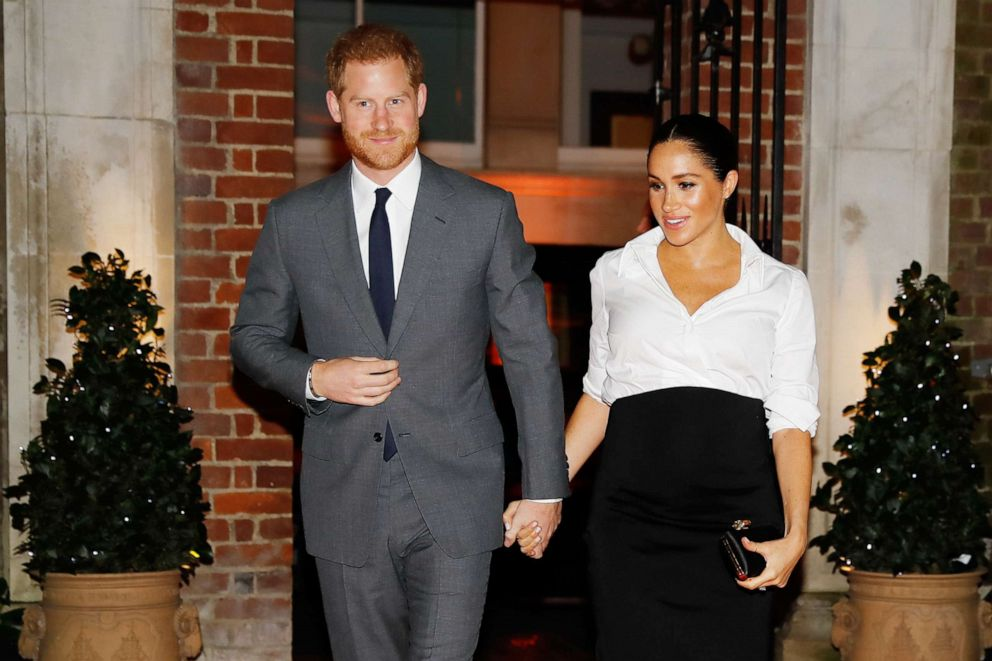 Prince Harry, Duke of Sussex and Meghan, Duchess of Sussex attend the Endeavour Fund awards at Drapers Hall, Feb. 7, 2019, in London.