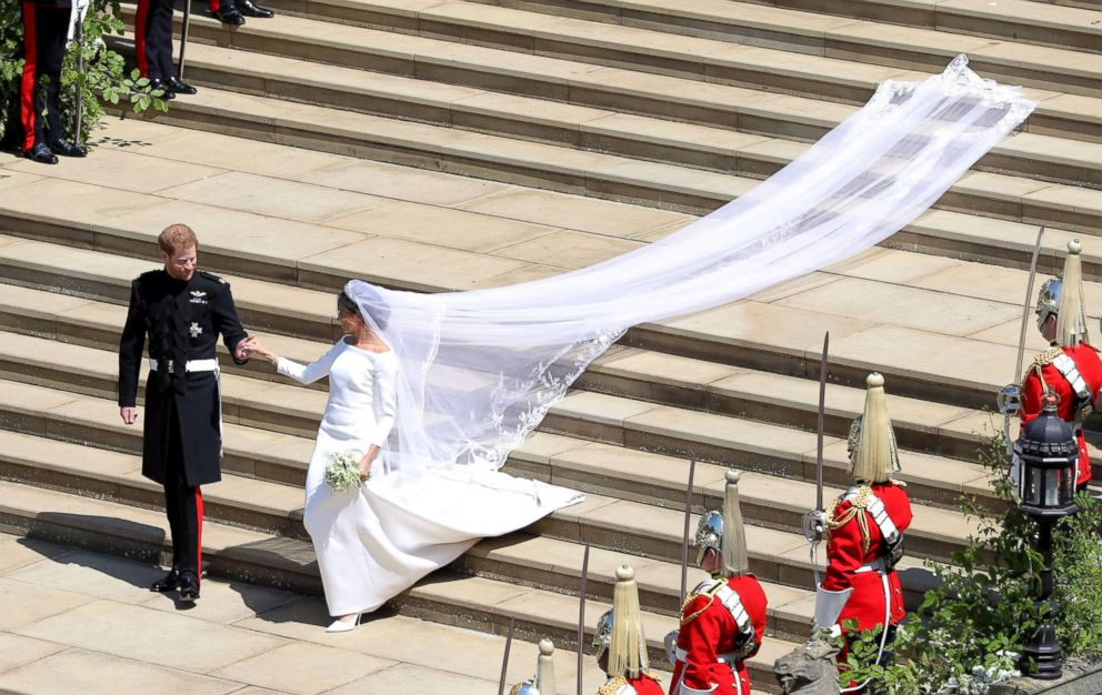 PHOTO: Prince Harry and Meghan Markle leave St Georges Chapel in Windsor Castle after their wedding, May 19, 2018, in Windsor, U.K.