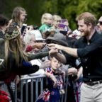 Prince Harry, Duke of Sussex, greets the crowds during a walkabout at Government Gardens, Oct. 31, 2018, in Rotorua, New Zealand.