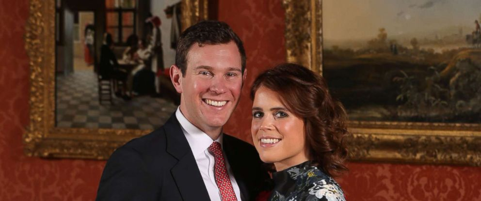 PHOTO: Princess Eugenie and Jack Brooksbank in the Picture Gallery at Buckingham Palace in London after they announced their engagement, Jan 22, 2018.