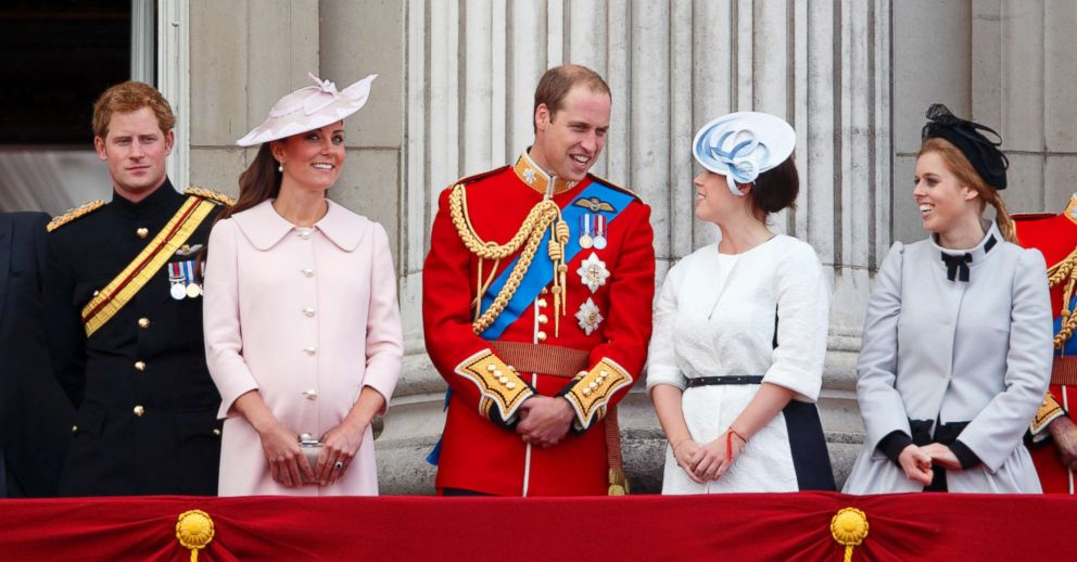 PHOTO: Prince Harry, Kate Middleton, Prince William, Princess Eugenie, and Princess Beatrice stand on the balcony of Buckingham Palace during the annual Trooping the Colour Ceremony in London, June 15, 2013.