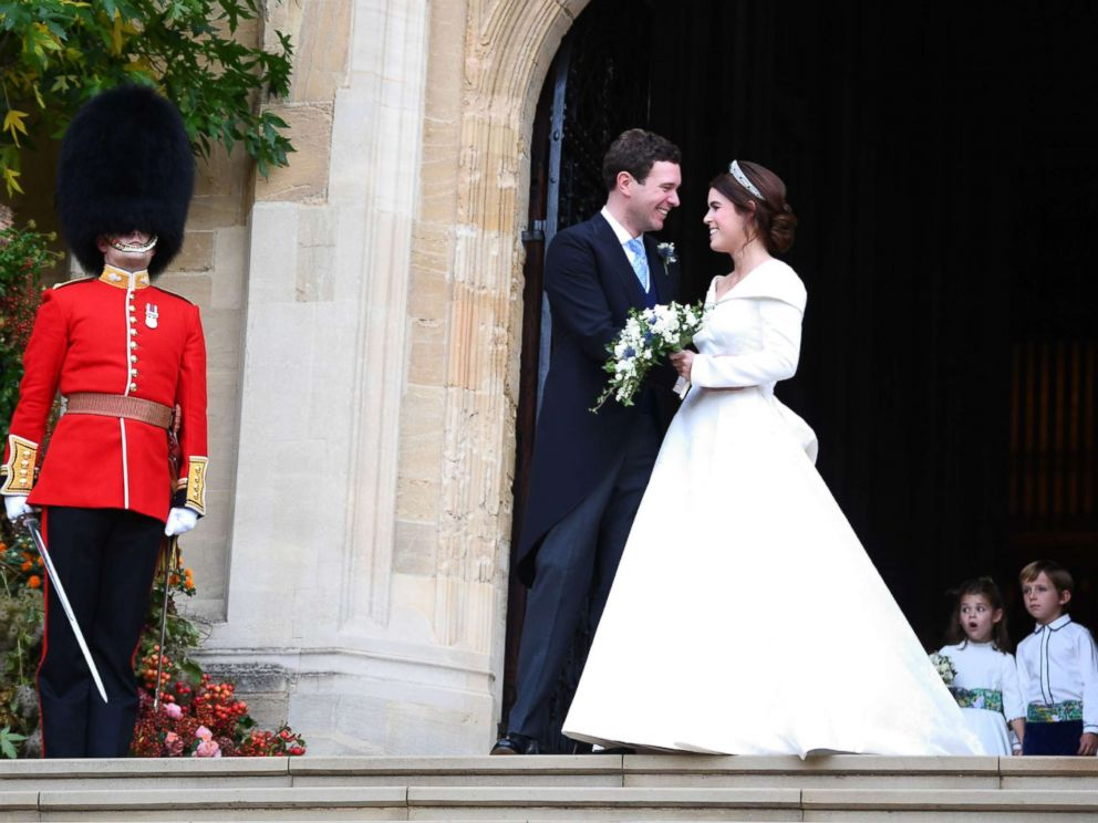 Princess Eugenie and her new husband Jack Brooksbank leave St Georges Chapel in Windsor Castle following their wedding, Oct. 12, 2018, Windsor, U.K.
