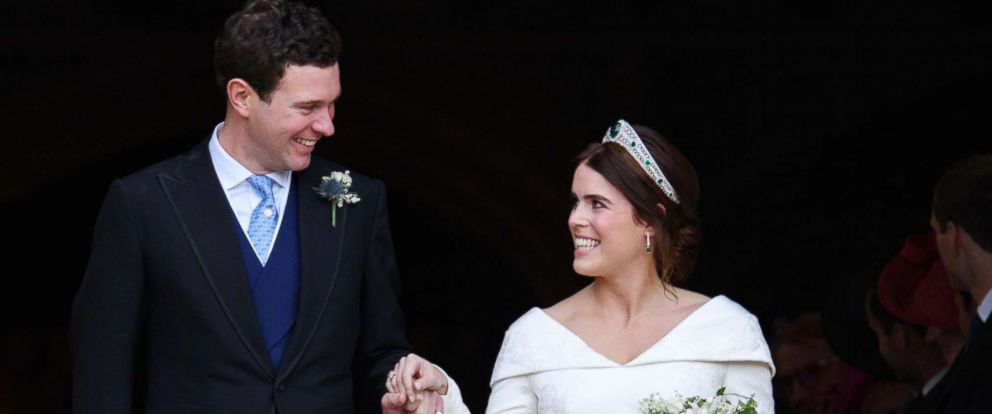 PHOTO: Jack Brooksbank and Princess Eugenie after their wedding, Windsor, Berkshire, U.K., Oct. 12, 2018.