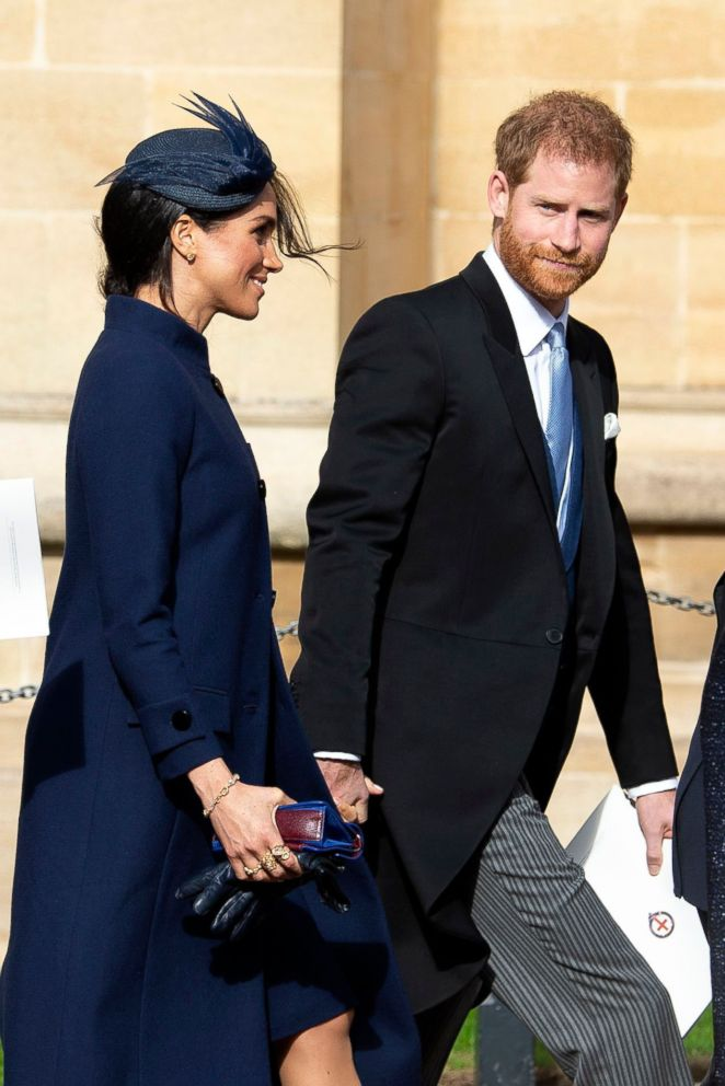 PHOTO: Britains Prince Harry, Duke of Sussex, right, and Meghan, Duchess of Sussex, left, leave after the royal wedding ceremony of Princess Eugenie of York and Jack Brooksbank at St Georges Chapel at Windsor Castle, in Windsor, Britain, Oct. 12, 2018.