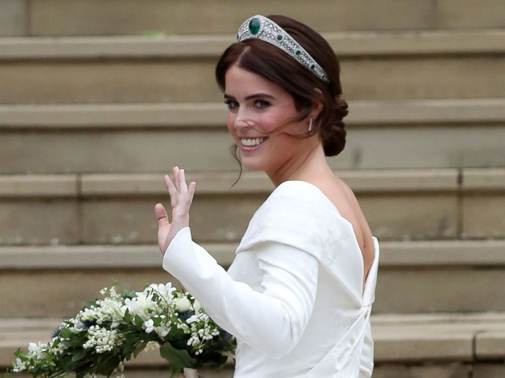 PHOTO: Britains Princess Eugenie of York at the West Door of St Georges Chapel, Windsor Castle, in Windsor, Oct. 12, 2018, for her wedding to Jack Brooksbank.