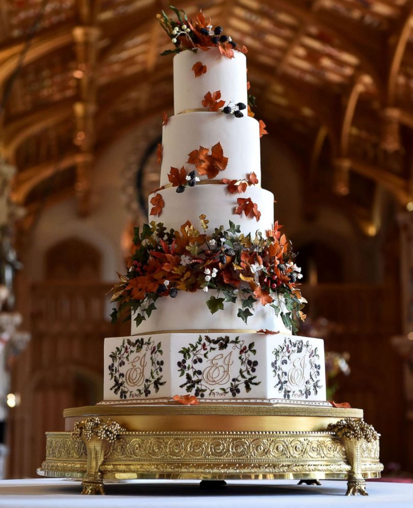 PHOTO: The wedding cake, which was created Sophie Cabot for the wedding of Princess Eugenie of York and Mr. Jack Brooksbank pictured in St. Georges Hall at Windsor Castle, Oct. 12, 2018, in Windsor, England.