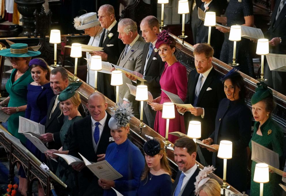 PHOTO: The Royal family at the wedding of Princess Eugenie and Jack Brooksbank at St Georges Chapel in Windsor Castle, Windsor, Britain, Oct. 12, 2018.