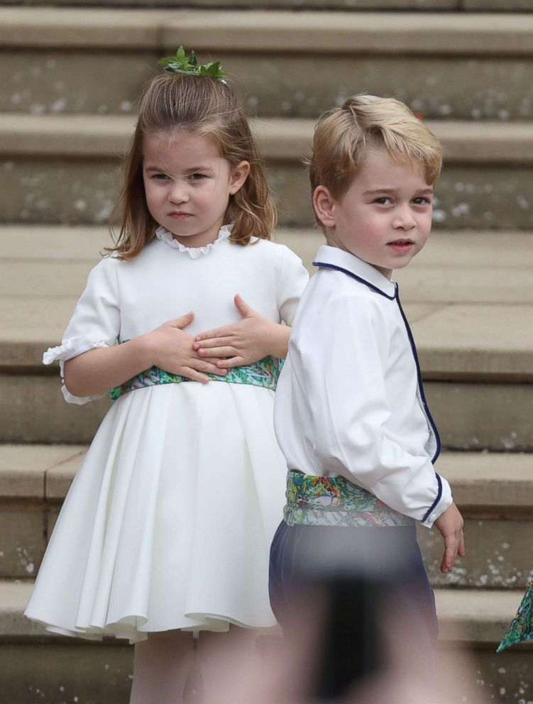 PHOTO: Princess Charlotte and Prince George arrive for the wedding of Princess Eugenie to Jack Brooksbank at St Georges Chapel in Windsor Castle, Britain Oct 12, 2018.