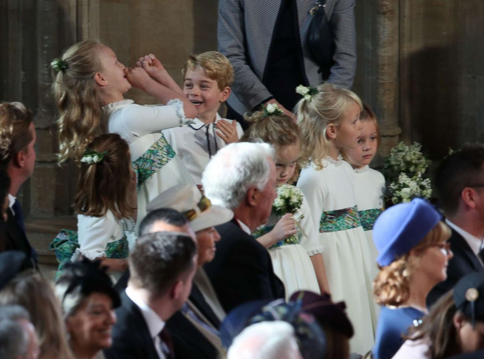 PHOTO: The bridesmaids and page boys wait to take part in the wedding of Britains Princess Eugenie of York to Jack Brooksbank at St Georges Chapel, Windsor Castle, in Windsor, on Oct. 12, 2018.