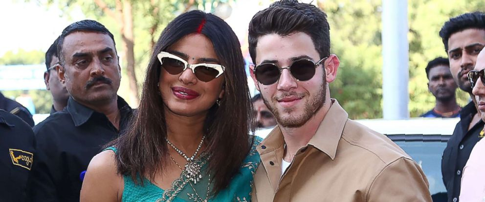 PHOTO: Priyanka Chopra and Nick Jonas pose for a photograph as they leave after their wedding ceremony in Jodhpur in the western Indian state of Rajasthan, Dec. 3, 2018.