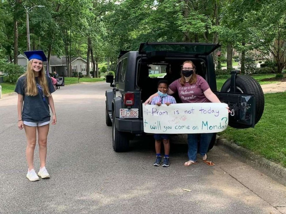 "PHOTO: Rachel Chapman was asked to the ""prom"" by 7-year-old Curtis Rogers after her prom was cancelled due to COVID-19. Rachel is a senior at Sanderson High School in Raleigh, North Carolina."