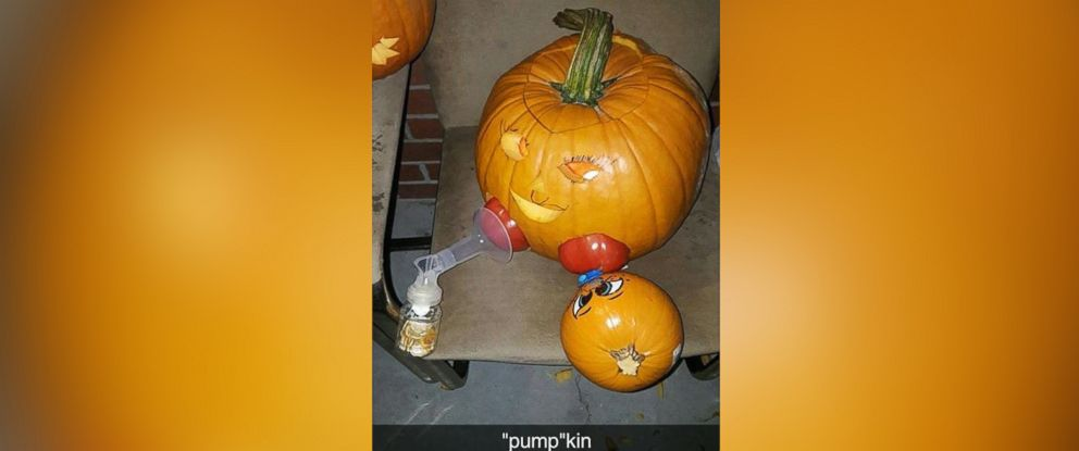 PHOTO: For her pumpkin carving creation, Taylor Tignor used a large pumpkin, a small pumpkin, 2 tomatoes and a breast pump.