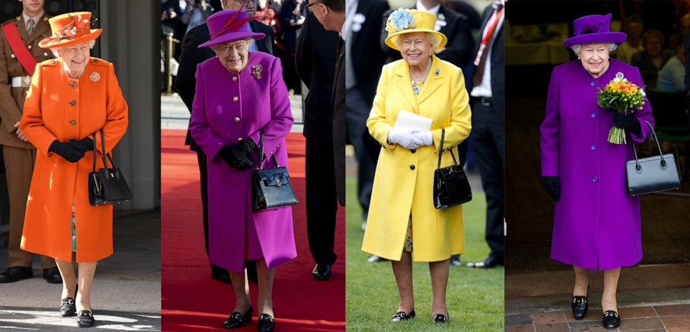 PHOTO: Queen Elizabeth wearing bright colored coats with matching hats in a set of photos at various events in 2018 and 2019.