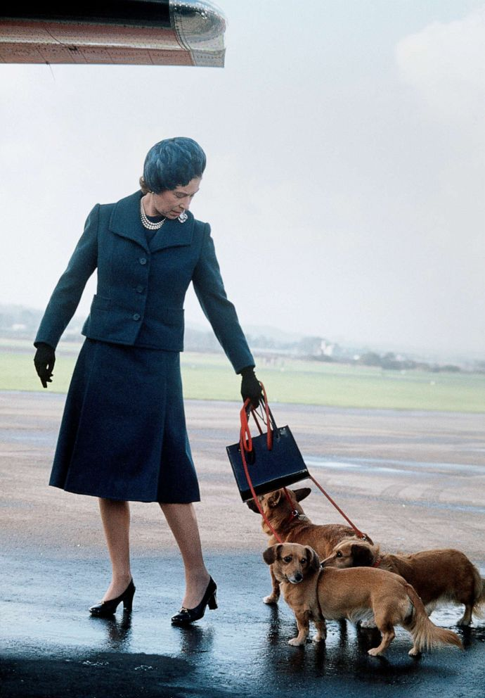 PHOTO: Queen Elizabeth ll arrives at Aberdeen Airport with her corgis to start her holidays in Balmoral, Scotland in 1974.