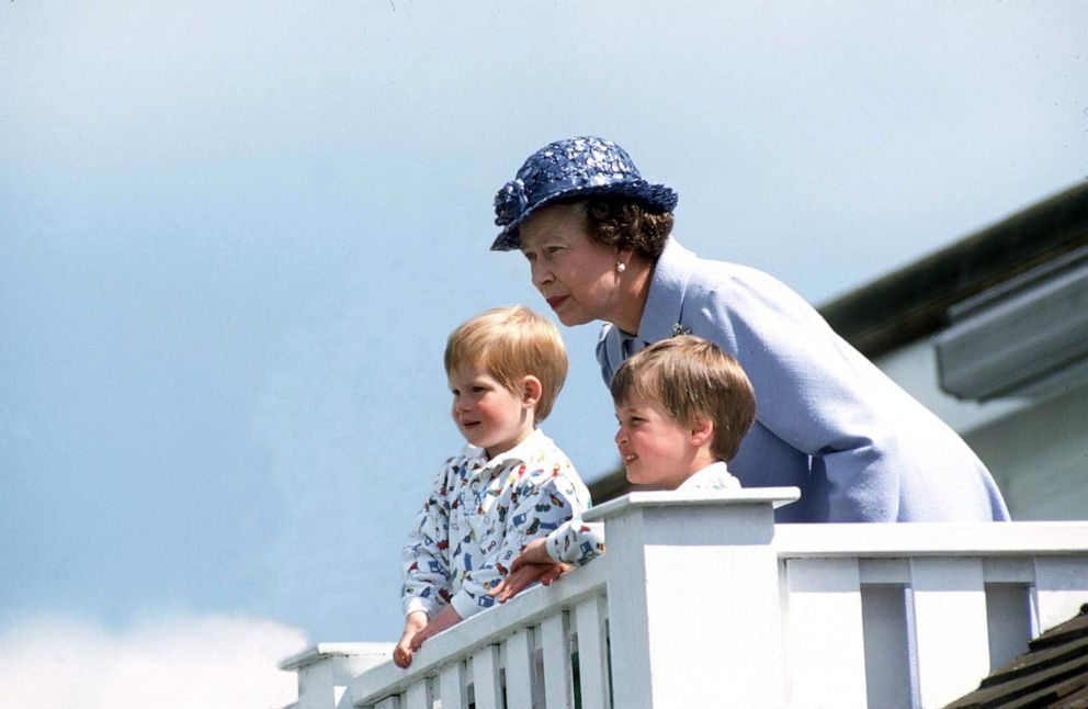 PHOTO: Queen Elizabeth with Prince William and Prince Henry at a polo match.
