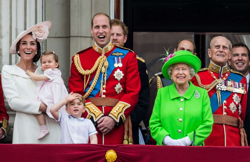 PHOTO: Queen Elizabeth II is joined by Catherine, Duchess of Cambridge, Princess Charlotte, Prince George, Prince William, and Prince Philip, on the balcony during the Trooping the Colour, June 11, 2016 in London, England.