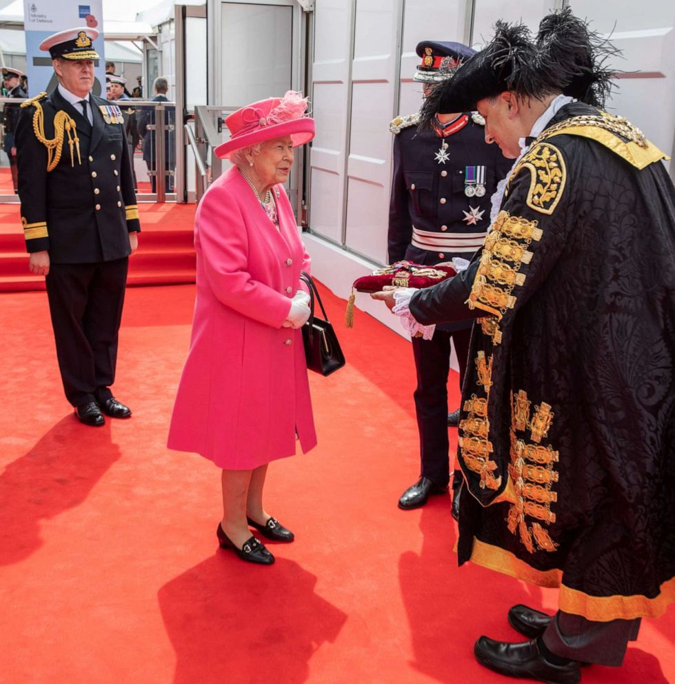 PHOTO: Queen Elizabeth II is presented to the Keys of Portsmouth by the Mayor ahead of the National Commemorative Event commemorating the 75th anniversary of the D-Day invasion on June 5, 2019 in Portsmouth, England.