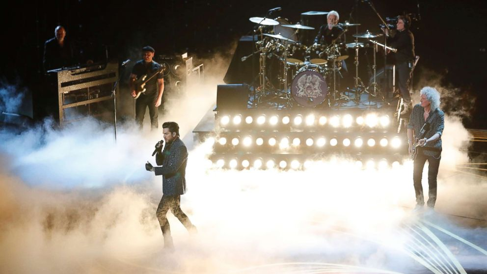Adam Lambert performs with Queen at the Oscars, Feb. 24, 2019 in Los Angeles.