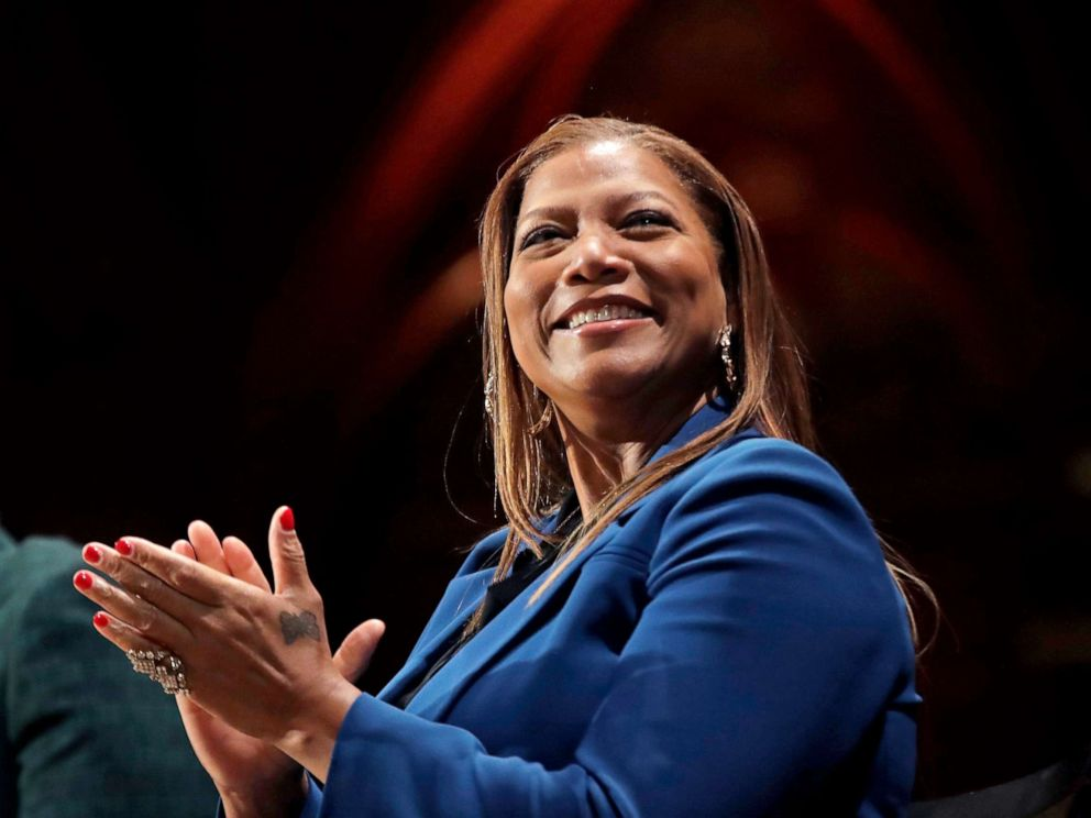 PHOTO: Queen Latifah applauds during ceremonies at Harvard University awarding the W.E.B. Dubois Medals for contributions to black history and culture, Oct. 22, 2019, in Cambridge, Mass.